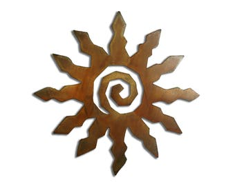 Sun Burst Spiral Metal Wall Art 12 Point- Brown Rust Finish