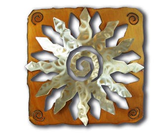 Sun Burst Cut Out Southwest Metal Wall Art - 12 Point - Brown Rust and silver Finish