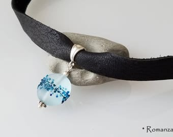 Leather Choker with Frosted Glass Round Disc bead, Prom choker, blue European limited edition bead, romanza jewelry