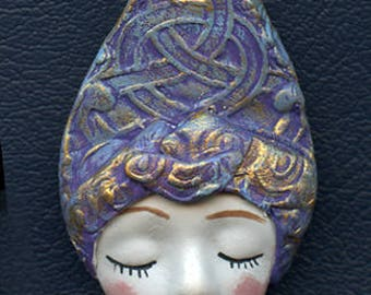 OOAK Polymer Clay One of a kind Detailed   Face with Textured Hat ANH 2