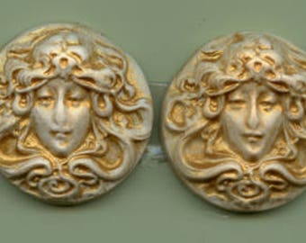 Sale !  2  Golden Polymer  Cabs Un drilled Art Nouveau faces SANP 4