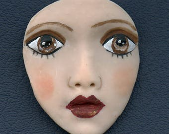 Medium Brown Eyed   Detailed Polymer Face  Un Drilled MFLAD 1