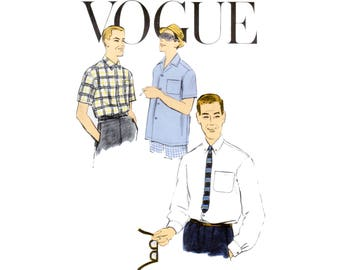 50s Mens Shirt Pattern vintage Vogue Button Down Shirt pattern Chest 40 dress shirt pattern vogue 9287