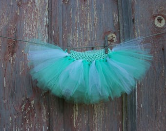 Size Newborn to 2T Baby or Small Dog Light Green and Sparkly White Tutu