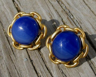 Fused Blue Glass Nautical Post Earrings