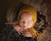 Mustard Classic Bonnet - newborn photography prop yellow baby hat
