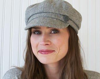 Womens Newsboy Hat, Womens Hat, Gray and White, Wool Herringbone, Newsboy Cap, M