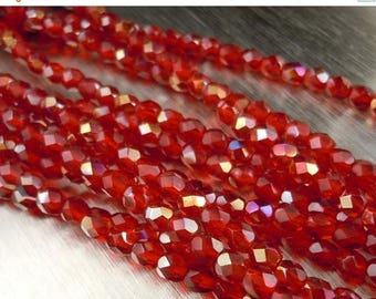 25% OFF Sale 4mm Czech Beads  - Czech Glass Beads Siam Ruby Twilight Faceted Round - 50 pcs (G - 140)
