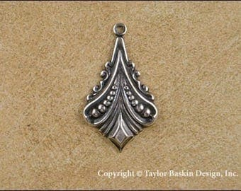 Antiqued Sterling Silver Plated Art Deco Earring or Pendant Component (item 1305 AS) - 6 Pieces