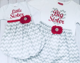 SISTER OUTFITS...little sister baby gown and big sister outfit.. in grey chevron and red accents- holiday Christamas wear