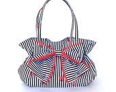 Stripe bow bag,purse with bow and ruffles, ruffled handbag,black and white purse,fabric purse ,vegan day bag,bow handbag, handbag with bow