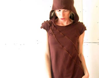 HOODED DRESS clothing| women| dress| handmade| hooded dress| dress with hood| cap sleeve dress| comfortable dress| cotton dress