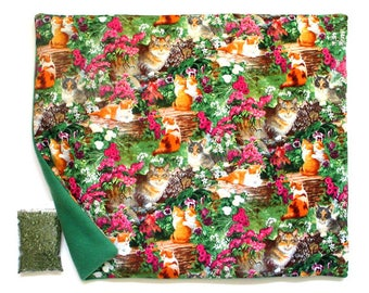 X Large Catnip Mat plus Catnip  Cars and Kittens in Flowers Refillable Reversible