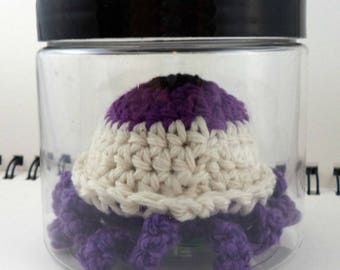 Jar with Giant Purple Crocheted Eyeball with Purple Tentacles (SWG-EY017)