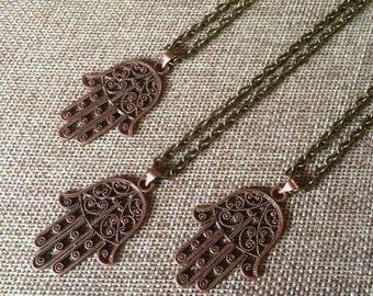 SUMMER SALE Hamsa Necklace in Copper / Hamsa Pendant on Bronze Cable Chain / Mens Hamsa Necklace / Mixed Metals Necklace / Layering Necklace
