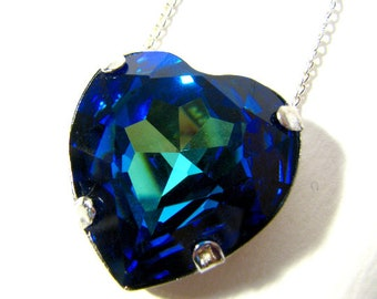 Caribbean Sea Heart Necklace - Glittering Multicolored Bermuda Blue Swarovski Heart Crystal Rhinestone Necklace - Available In Silver / Gold
