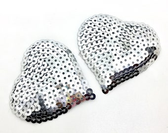 Silver Sequined Heart Shaped Pasties