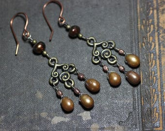 Golden Brown Pearl Chandelier Earrings Antiqued Brass Copper Pearl Earrings