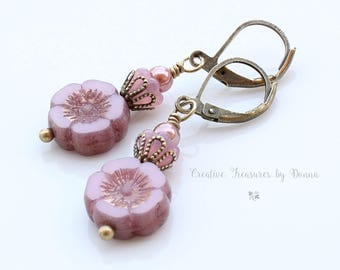Pink Hawaiian Pansy Flowers Brass Earrings Pink Czech Glass Baby Bell Flowers Mauve Swarovski Glass Pearls Victorian Style