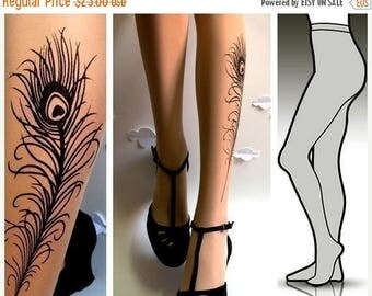 SALE///endsAug22/// Large/Extra Large sexy PEACOCK FEATHER Tattoo  tights / stockings full length pantyhose Light Mocha