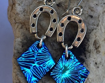 Blue Horseshoe Long Dichroic Glass Earrings