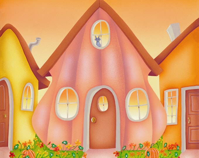 HOME GROWN Framed Art Print | PUMPKIN House Painting | Nature Print | Home and Garden Wall Art | Valerie Walsh Art Work | 12x12