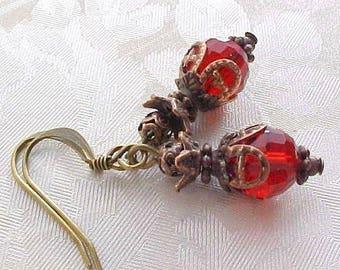 Dark Red Earrings Red Valentines Day Earrings Gothic Earrings Victorian Earrings Elizabethan Earrings Medieval Earrings Renaissance Earrings