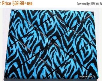 July 4th Sale Blue Zebra Memory Board, Zebra French Memo Board, Zebra Fabric Photo Board, Blue and Black Ribbon Pin Board, Teen Bedroom Deco
