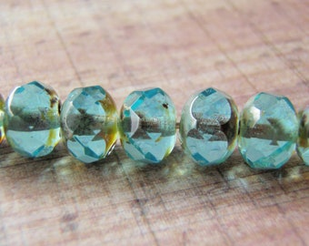Aqua Beads 8x6mm Picasso Finish on Ends 10 Beads