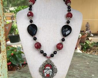 Dia de los Muertos Skulls and Roses Necklace