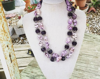 Purple Crystal and Nugget Necklace