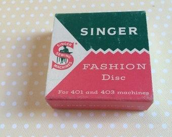 1/2 off Blowout Sale Singer top hat cam in original box.  Fashion Disc  #13, Faggoting pattern 174535