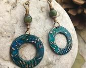 Copper Hoop Earrings, Fern Leaves, Connemara Marble, Blue Patina, Boho Earrings, Gypsy Hoop Earrings, Dangle Hoops, Irish Marble, Fern Leaf