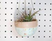 Hanging Planter - Peach and Confetti Glaze - Modern Ceramics - Ceramics and Pottery - Gifts for Her