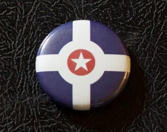 "1"" Indianapolis IN flag button - Indiana, city, pin, badge, pinback"
