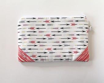 zipper pouch, cash envelope, Eyeglass case, Pen pencil, cash wallet, Cosmetic makeup case, Coral canvas bag, sunglasses case, Pink arrows