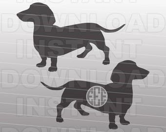 Daschund SVG,Weiner Dog SVG File,Monogram SVG,Cutting Template-Vector Clip Art for Commercial/Personal Use-Cricut,Cameo,Silhouette,Cut File