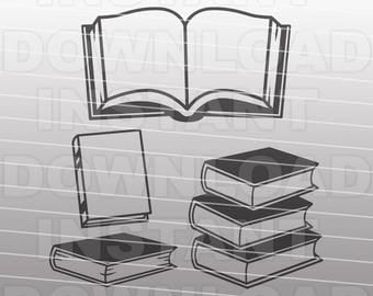 Books SVG File,Library Books SVG,School Books SVG -Commercial & Personal Use- Vector Art for Cricut,Silhouette Cameo,Heat Transfer Vinyl