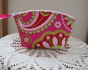 Cosmetic Bag Clutch Purse Essential Oil Case Pink paisley Bohemian Splendor