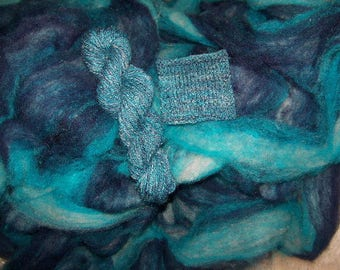 Midnight Dream - wool and mohair roving - 8 ounces