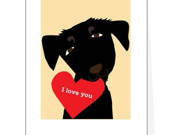 black lab Valentine greeting card collection