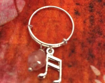 Silver Adjustable Ring, Crystal and Music Charm