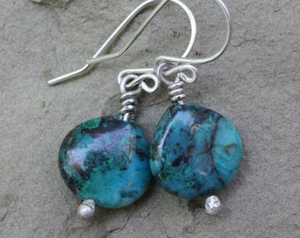 Genuine Chrysocolla Earrings, Chrysocolla Sterling Silver Earrings, Gemstone Earrings, Artisan Gemstone Earrings, Blue Green Gemstone Jewels
