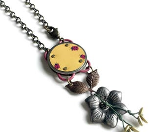Harbinger Collection Riveted Ladybugs Pendant Necklace on Chain