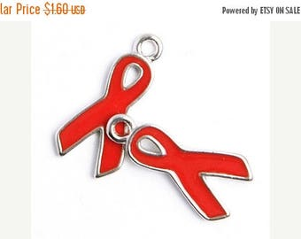 Summer Sale 19mm Red AIDS Awareness Ribbon Charms - 2 Pieces - 4003