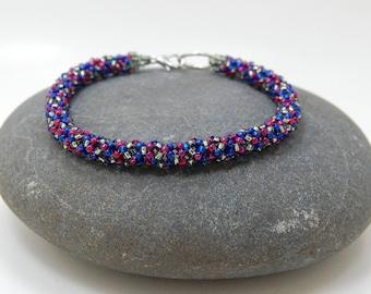 4th/Peyote Bracelet/Bangle/Beaded Bracelet/Beadwoven Bracelet/Handmade Jewelry/Personalized Gift