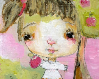 Lil Miss Apple - original 4x4 on wood