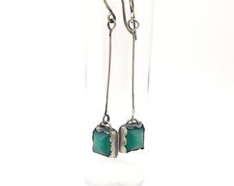 Wonder Wander earrings vintage green button earrings dangke earrings drop earrings silver earrings