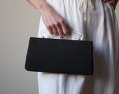 50s black purse / clear top handle purse / 1890a