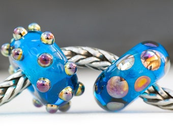 Dotty Lustre Bead Turquoise Duo Handcrafted Lampwork Glass European Charm Big Holed Bead by Clare Scott SRA